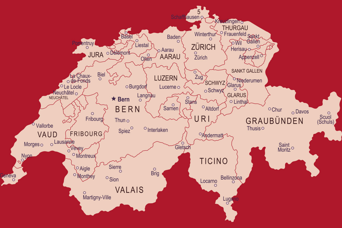 MOVI Weinregion Schweiz Karte